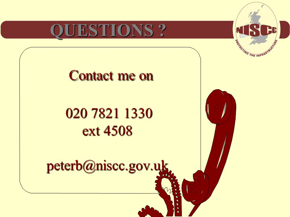 Contact me on 020 7821 1330 ext 4508 peterb@niscc.gov.uk