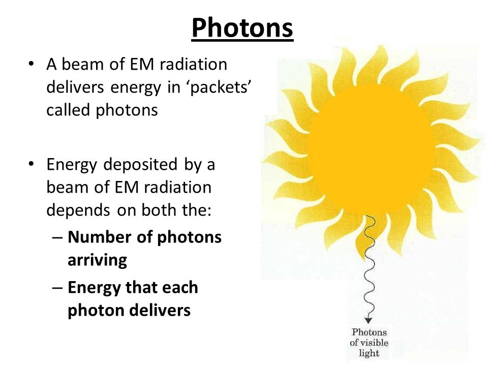Photons A beam of EM radiation delivers energy in 'packets' called photons. Energy deposited by a beam of EM radiation depends on both the:
