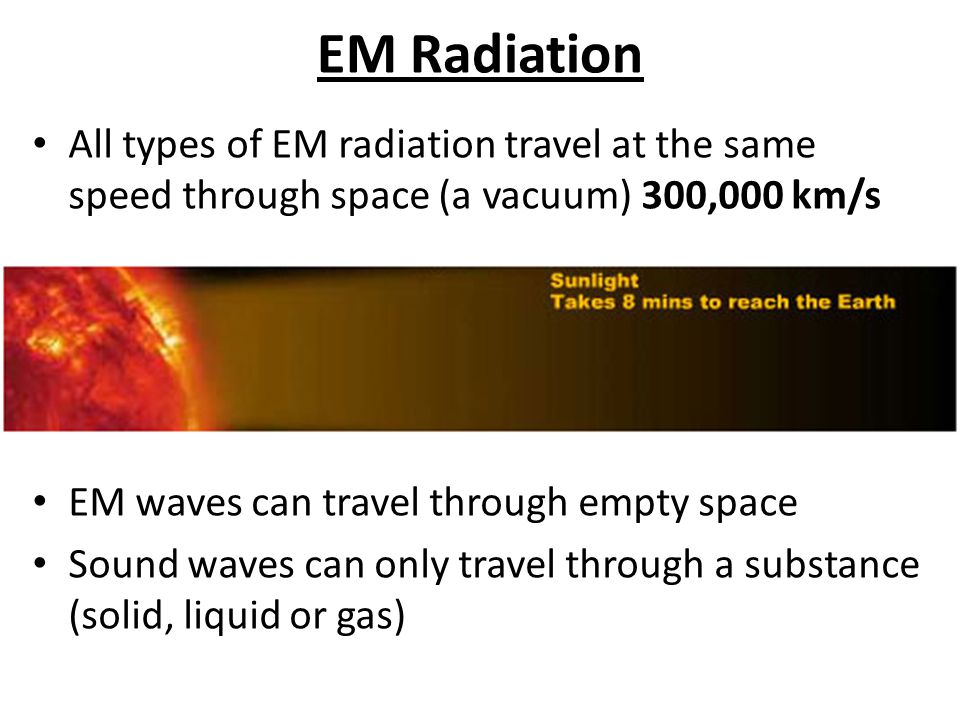 EM Radiation All types of EM radiation travel at the same speed through space (a vacuum) 300,000 km/s.