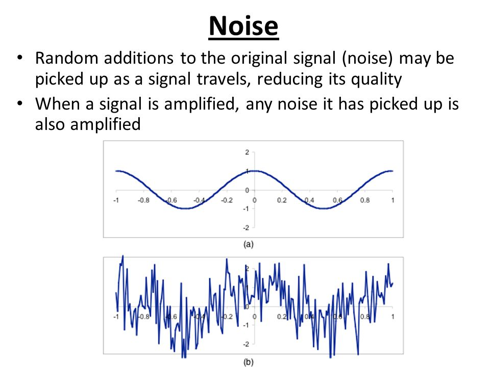 Noise Random additions to the original signal (noise) may be picked up as a signal travels, reducing its quality.