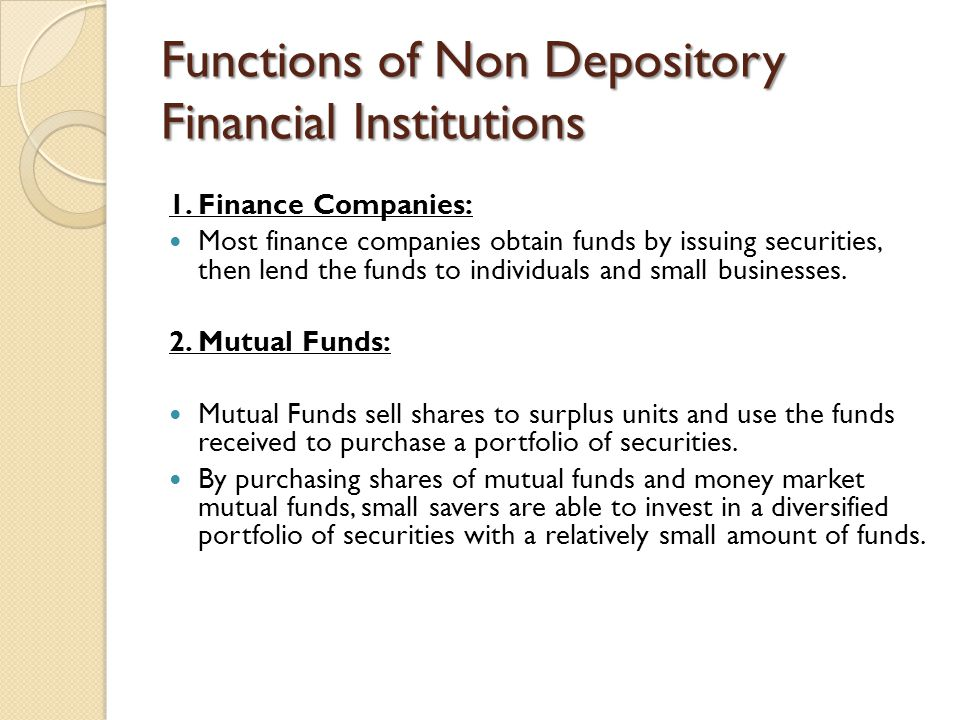 Functions of Non Depository Financial Institutions