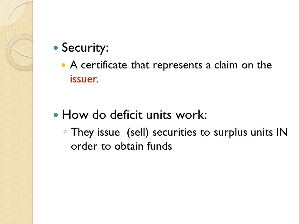 How do deficit units work: