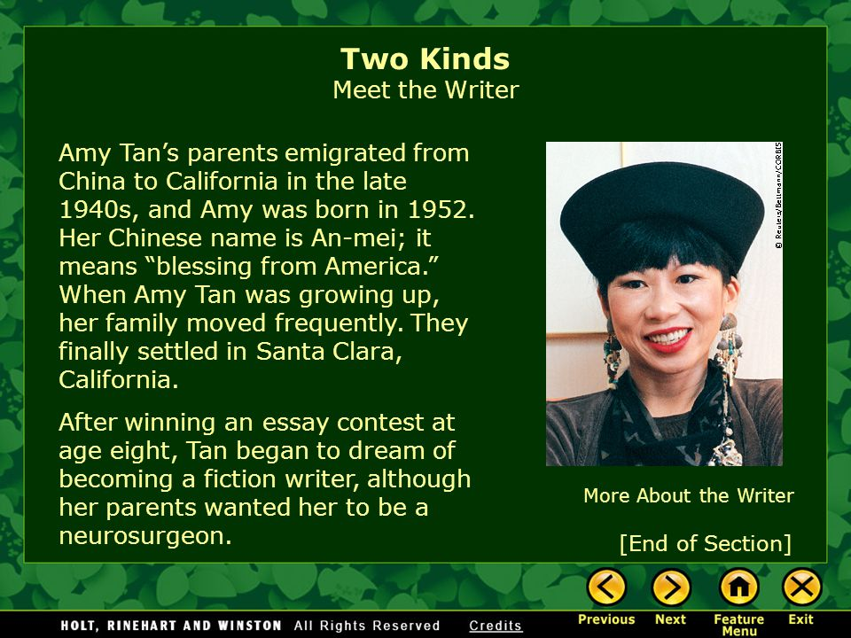 two kinds by amy tan introducing the story ppt  two kinds meet the writer