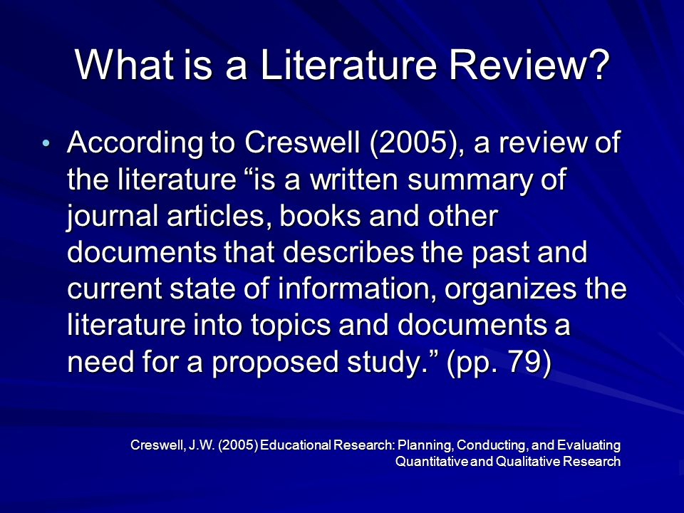 Review Of The Literature Creswell Chapter 2