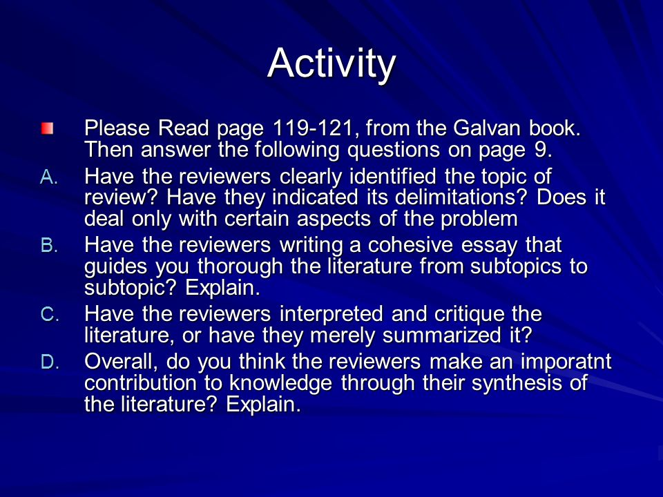 writing literature reviews galvan online Writing literature reviews: a guide for students of the social and behavioral sciences by jose l galvan routledge 6 as new as new ship within 24hrs.