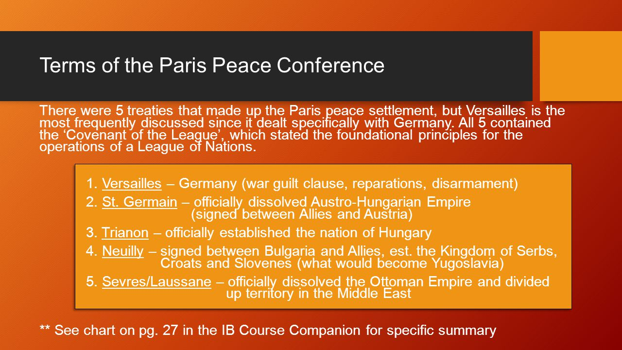 examine how the paris peace settlements How did the treaty of versailles establish peace the peace negotiations in paris were like a grand bazaar where all kinds of merchants come and.