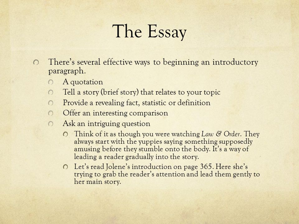 Good ways tp start an essay