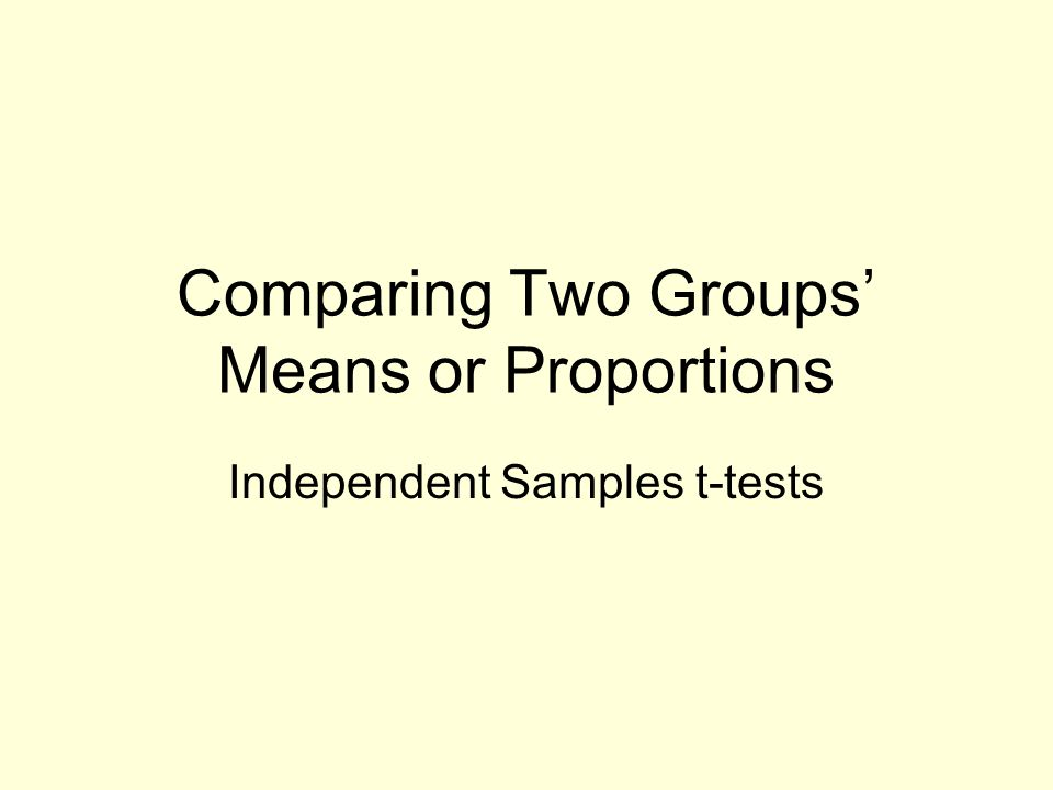 comparing the means of two or more groups Comparing the means of two or more groups comparing means from different groups helps give a comprehensive look at two different sets of information this method uses a treated group and a comparison group both from two different population samples (comparing means between groups, nd).