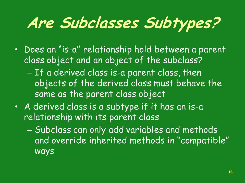 Are Subclasses Subtypes