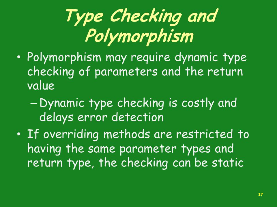 Type Checking and Polymorphism