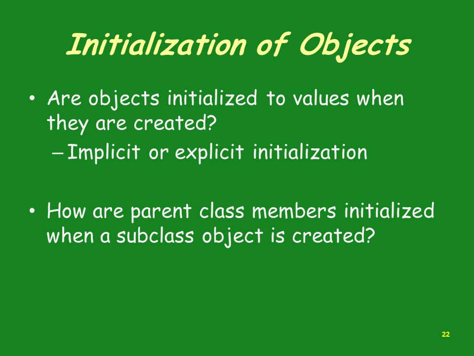 Initialization of Objects