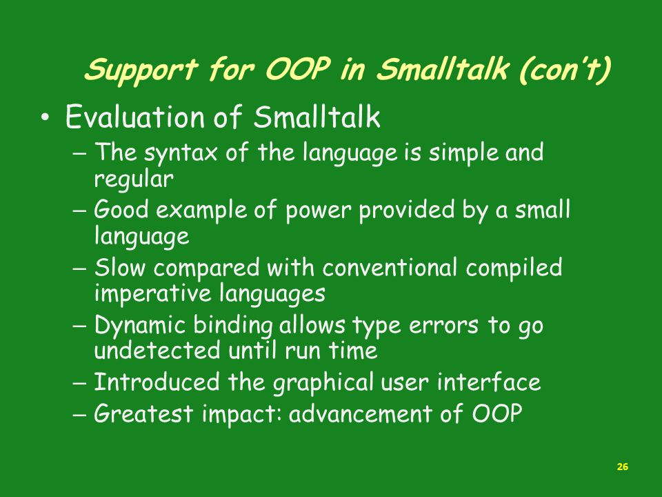Support for OOP in Smalltalk (con't)
