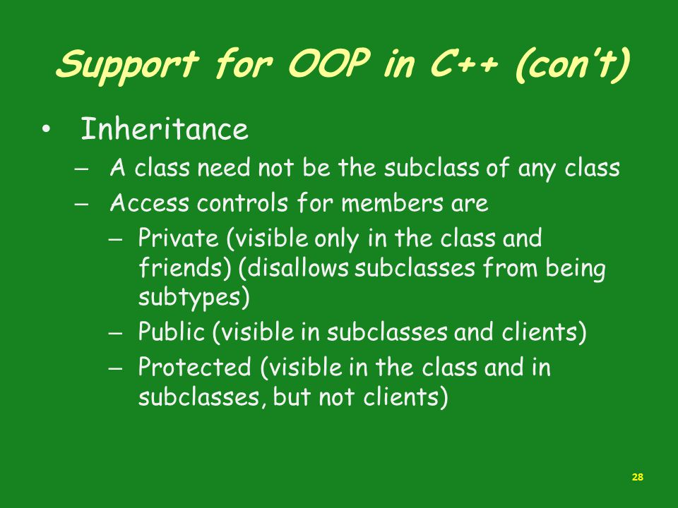 Support for OOP in C++ (con't)