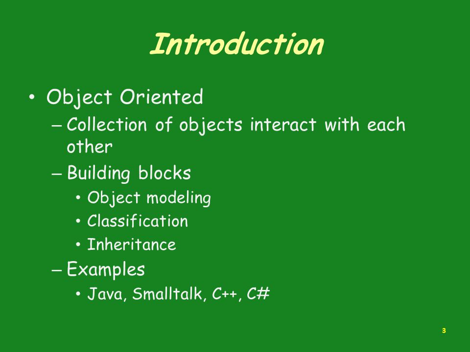 Introduction Object Oriented