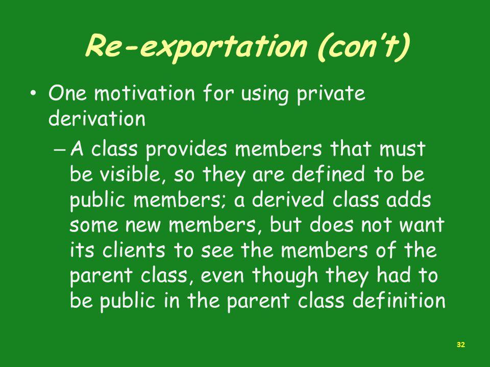 Re-exportation (con't)