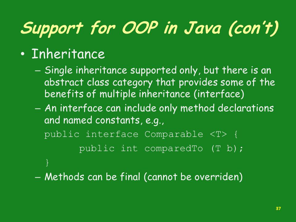 Support for OOP in Java (con't)