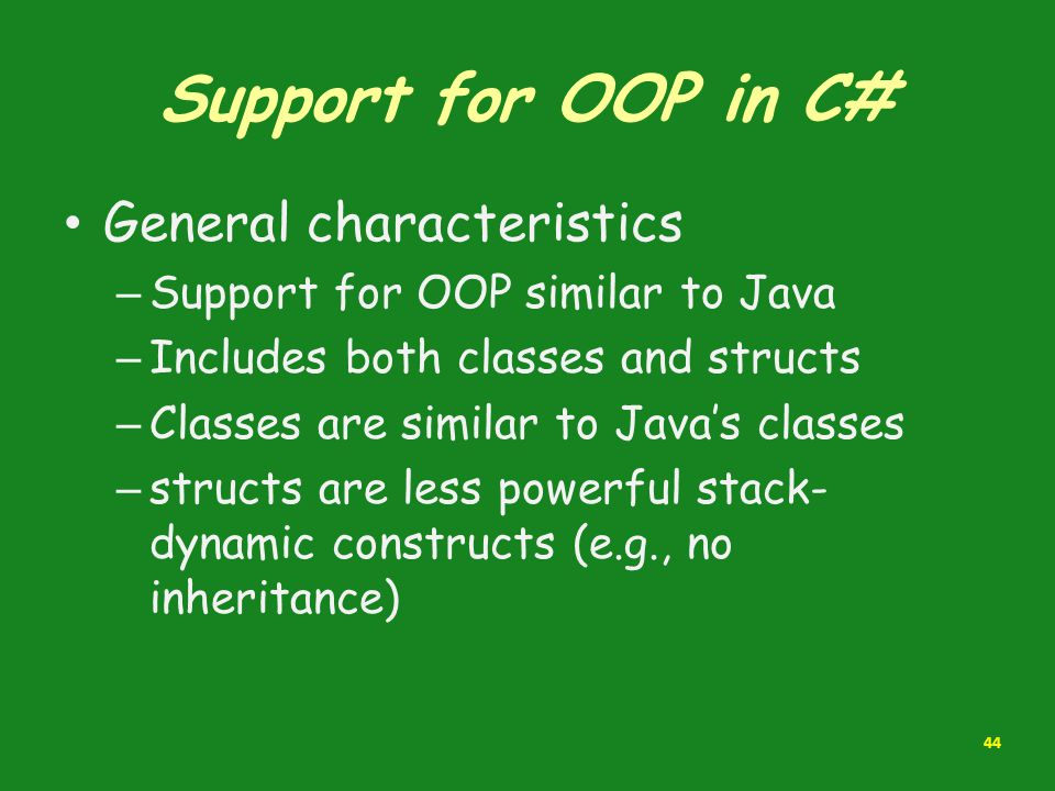 Support for OOP in C# General characteristics