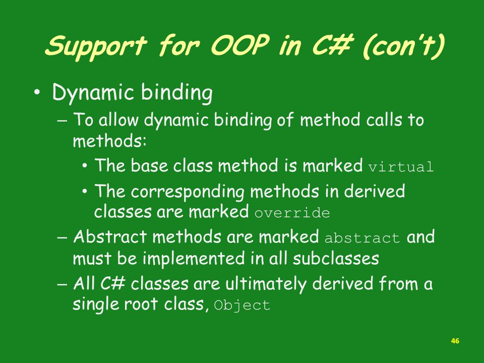 Support for OOP in C# (con't)