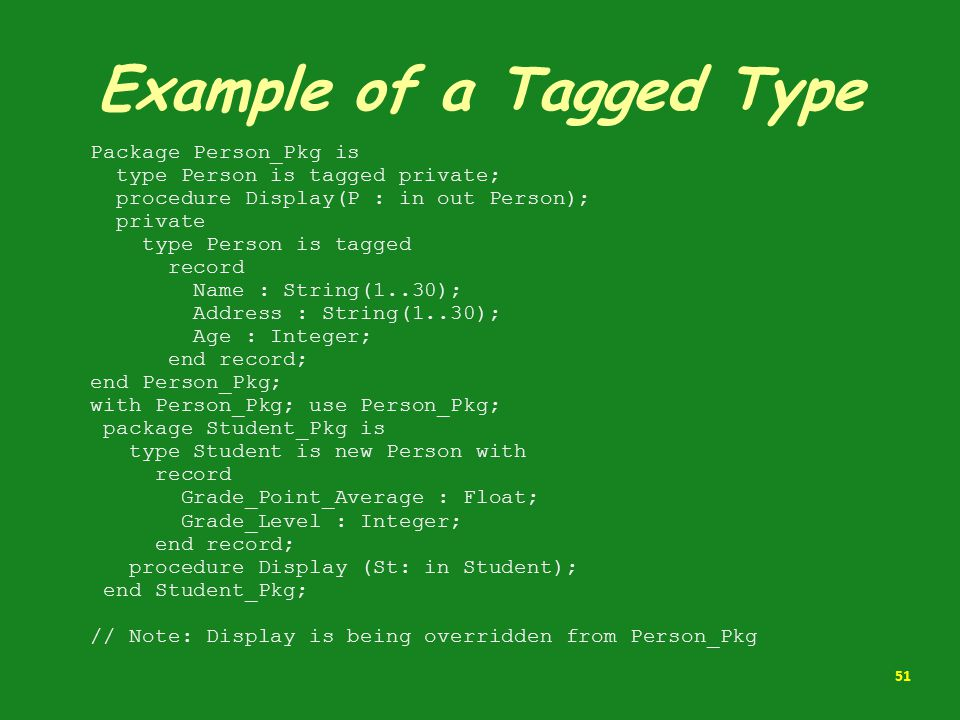 Example of a Tagged Type