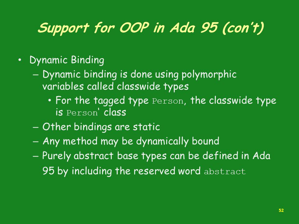 Support for OOP in Ada 95 (con't)
