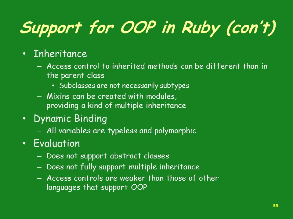 Support for OOP in Ruby (con't)