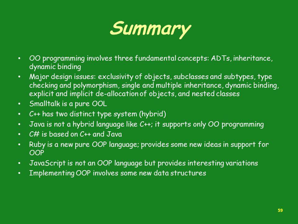 Summary OO programming involves three fundamental concepts: ADTs, inheritance, dynamic binding.