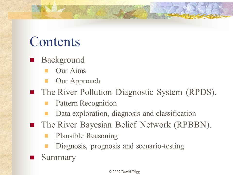 Contents Background The River Pollution Diagnostic System (RPDS).