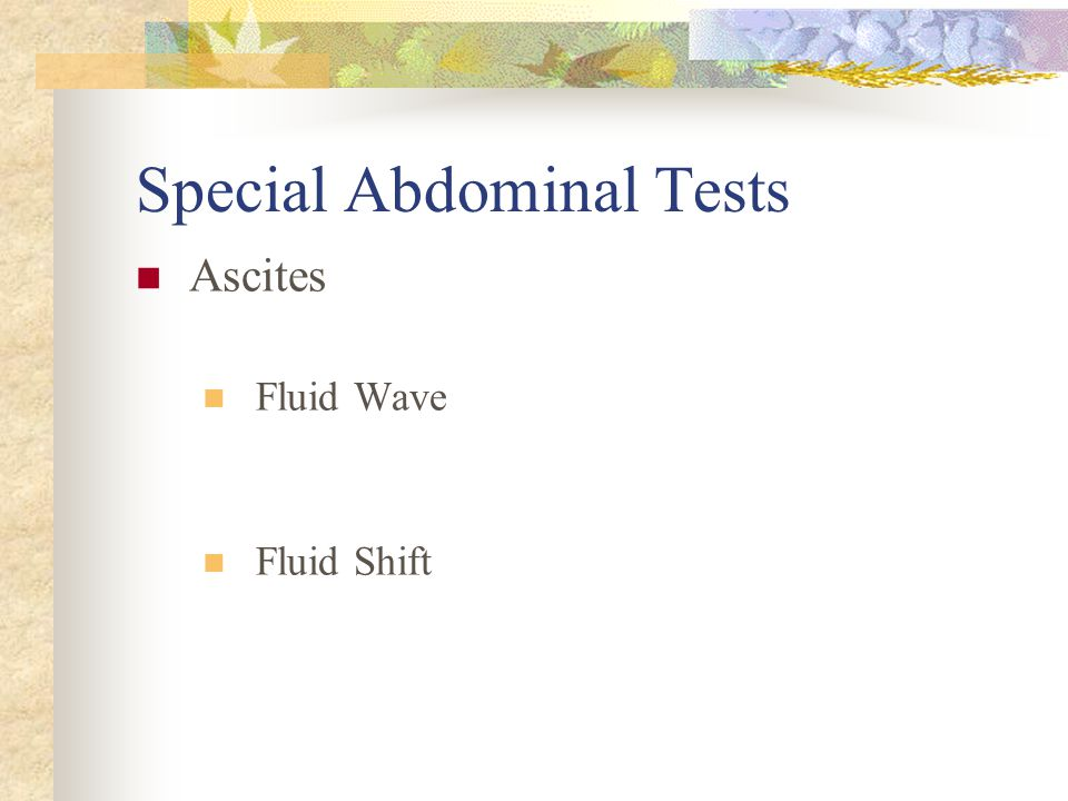 Special Abdominal Tests