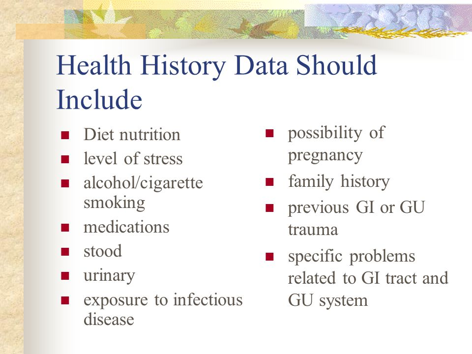 Health History Data Should Include