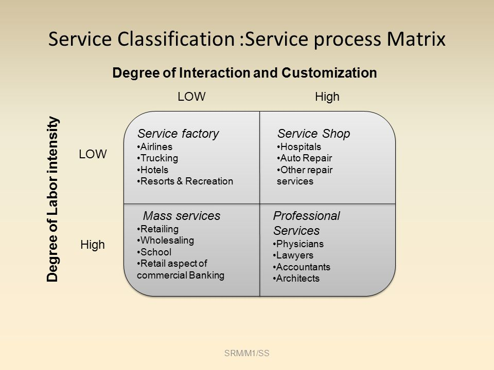 service process matrix Address the process configurations of service delivery systems in particular the  correlation of  two-dimensional service process matrix based on: - degree of.