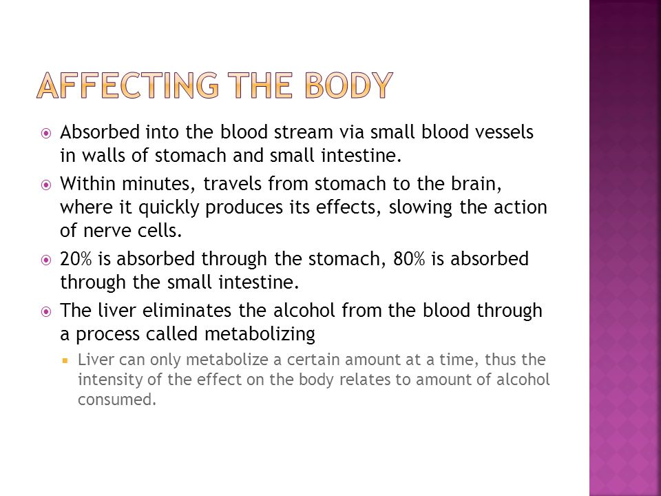 how alcohol processes through the body Alcohol is consumed orally and depending on how strong the alcohol, your weight, gender, or you ethnicity determines how fast it travels through your body.