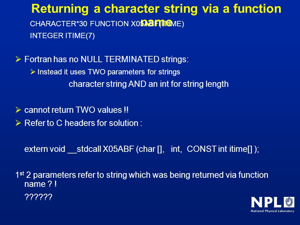 Returning a character string via a function name