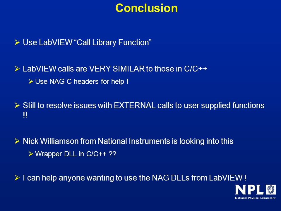 Conclusion Use LabVIEW Call Library Function
