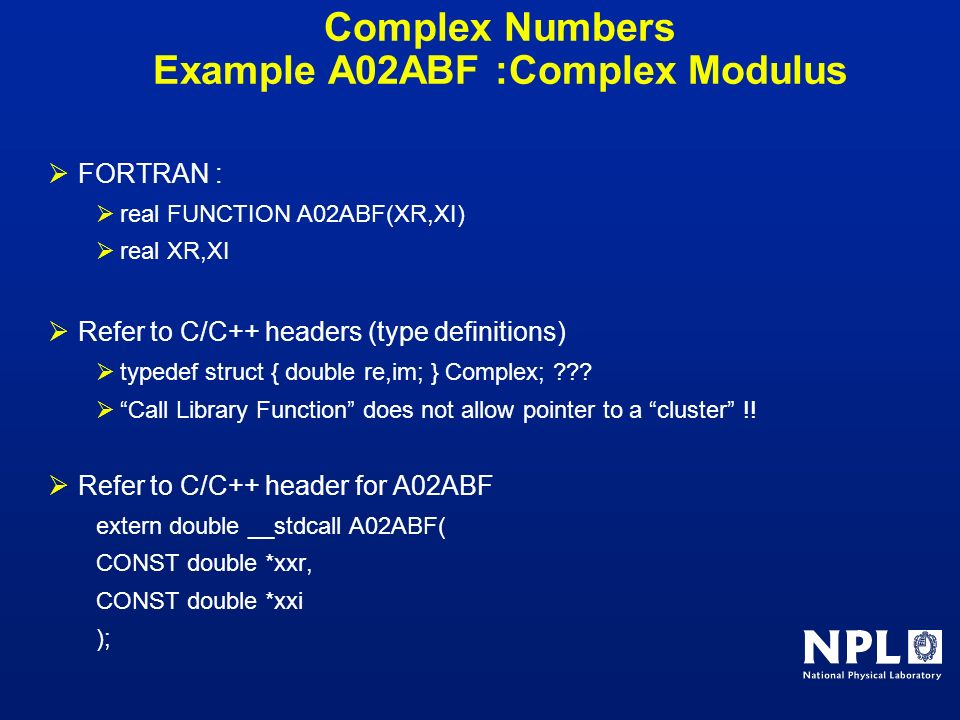 Complex Numbers Example A02ABF :Complex Modulus