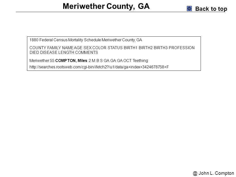 Early Georgia Compton And Crumpton Scrapbook Ppt Download - 1920 us census map for meriweather county georgia
