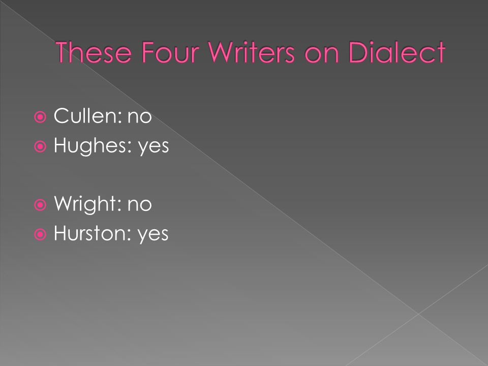 These Four Writers on Dialect