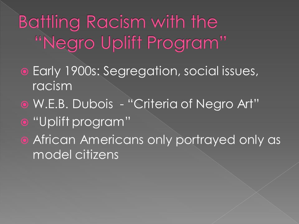 Battling Racism with the Negro Uplift Program