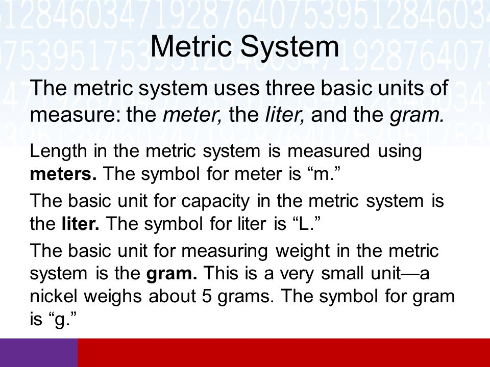 metric system Demonstrates how to convert between various sizes of metric units quickly and easily.