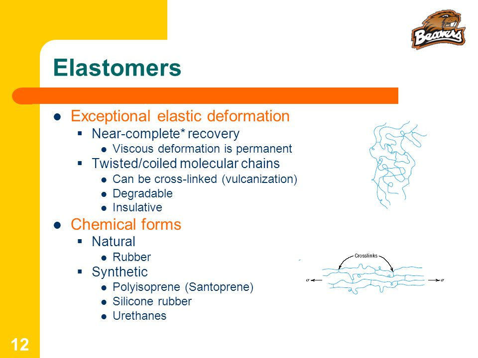 Elastomers Exceptional elastic deformation Chemical forms