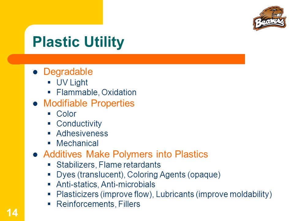 Plastic Utility Degradable Modifiable Properties
