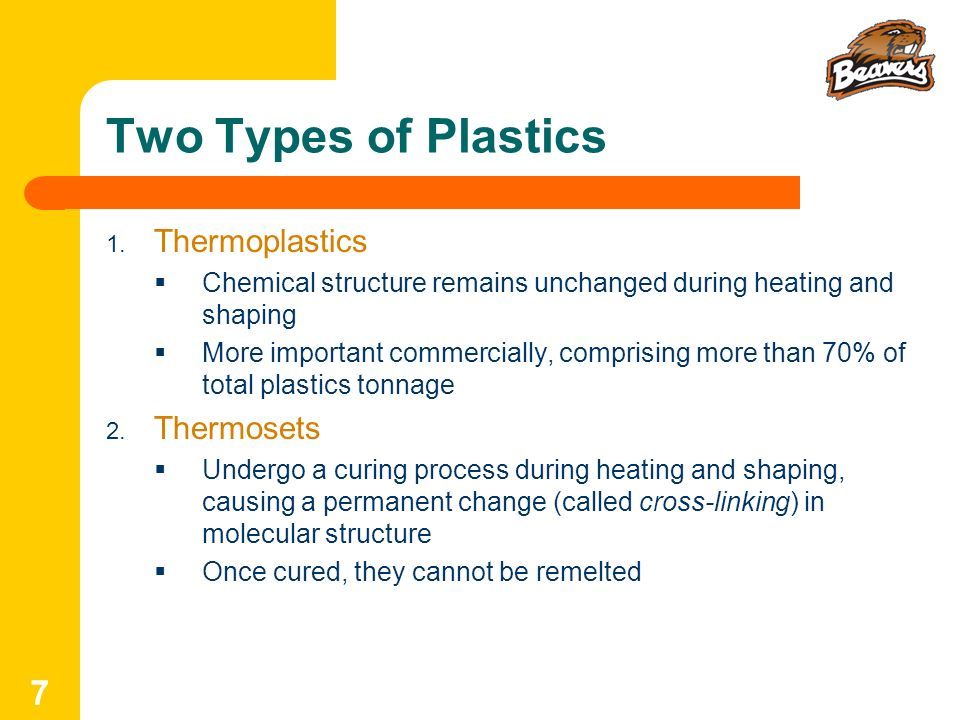 Two Types of Plastics Thermoplastics Thermosets