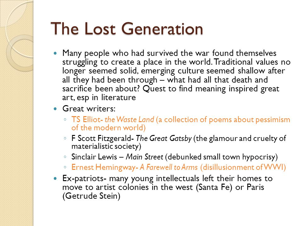 "the great gatsby and the lost generation essay Age"", was a representative of the ""lost generation"" in the 1920s  in the great  gatsby include green, white, red, yellow, blue and grey."