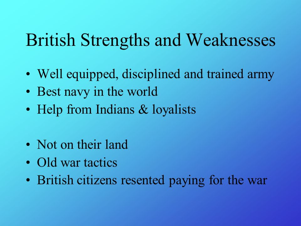 strengths and weaknesses of the british Assess your skills, and you will identify your strengths this is an exercise worth doing before any interview.