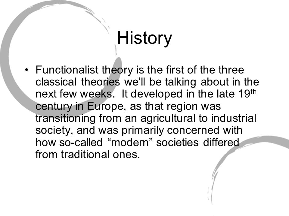 structural functionalist The structural functional theory sees the family as a social institution that performs certain essential function for society if these functions are not carried out then the family is said to be dysfunctional.