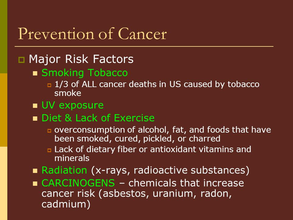 Prevention of Cancer Major Risk Factors Smoking Tobacco UV exposure