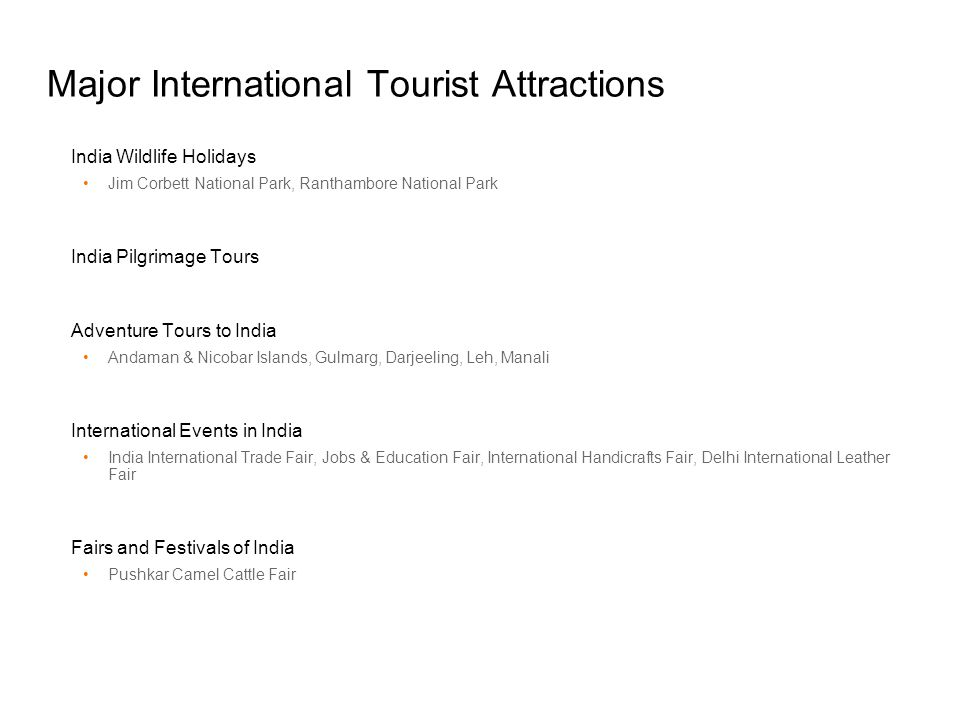 Major International Tourist Attractions