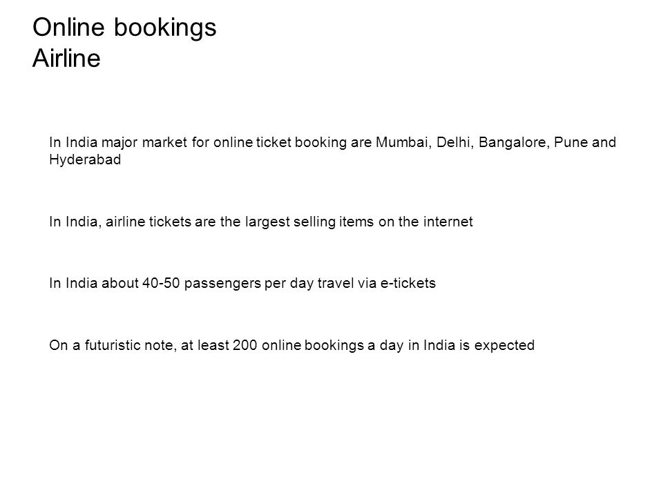 Online bookings Airline