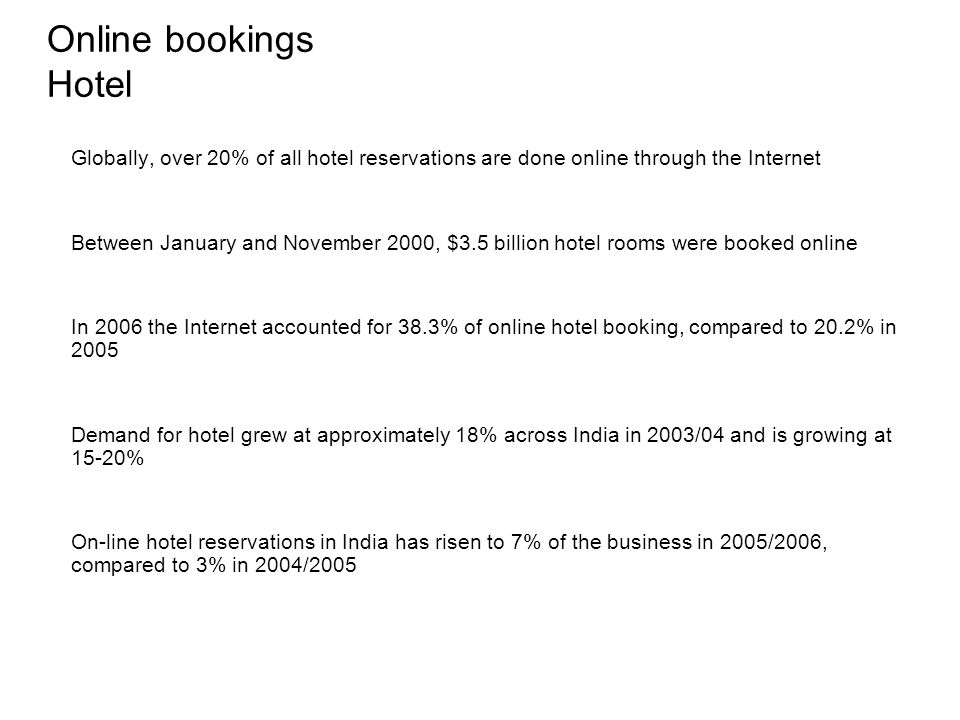 Online bookings Hotel Globally, over 20% of all hotel reservations are done online through the Internet.