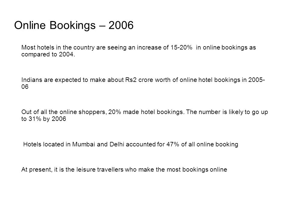 Online Bookings – 2006 Most hotels in the country are seeing an increase of 15-20% in online bookings as compared to 2004.