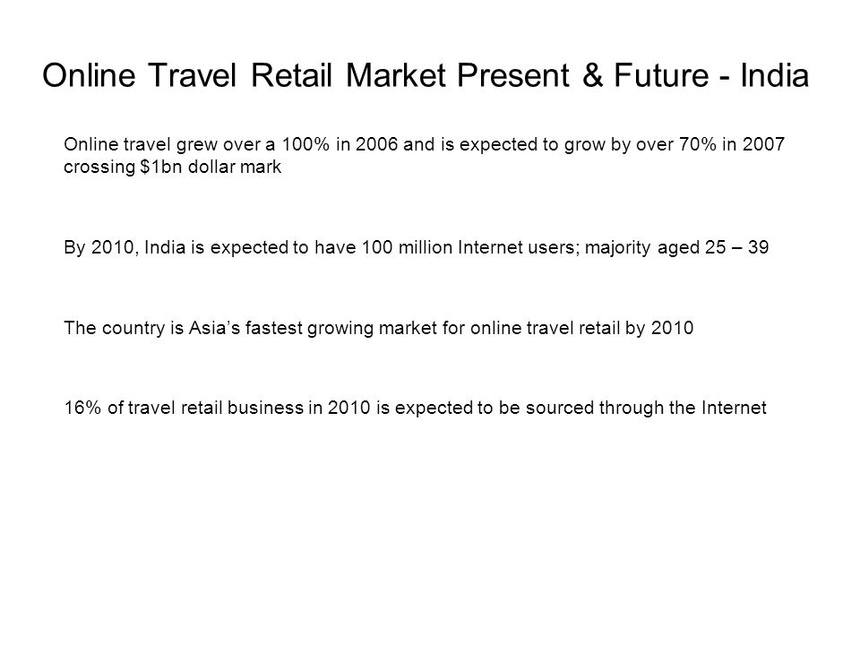 Online Travel Retail Market Present & Future - India